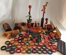 Kinderkram Waldorf Toys Wooden Blocks 5 Dolls Spielzeug Bldg Huge Lot 169 pcs