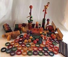 Kinderkram Waldorf Toys Wooden Blocks 5 Dolls Spielzeug Bldg Huge Lot 169 pcs