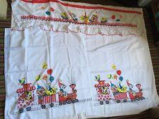 "Children's Circus Print Curtain 36"" H x 33"" W Panels Plus 61"" Valance"
