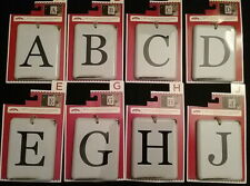 """White Metal Enamel Alphabet Letters New 3"""" x 4"""" Country Craft Tags Id w/ Twine"""
