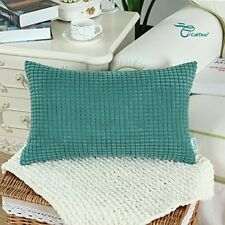 Home Decor Throw Pillow Case Covers 12x20 Soft Corduroy Corn Striped,Teal