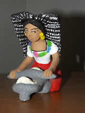 VINTAGE HAND CARVED MEXICAN LADY OAXACA CLAY SCULPTURE JOSEFINA AUGILAR