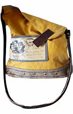 Recycled Canvas Tote Reclaimed Messenger Shoulder Bag Leather Handle Aviator
