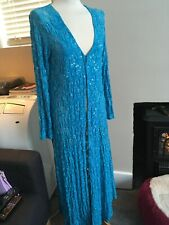 CADARI TURQUOISE BLUE LACE SEQUIN AND BEAD LONG JACKET S BNWOT
