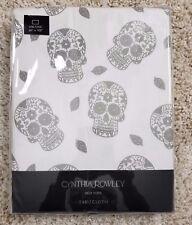 "Silver Skeleton Skulls Tablecloth Oblong 60""X102"" Cynthia Rowley Halloween"