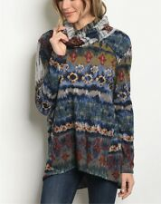Sexy Long Sleeve Cowl Neck Blue Multi Color Knit Sweater Size Small