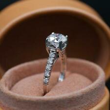 Certified Engagement Ring Anniversary Diamond Ring 14K White Gold Finish 3 Ct