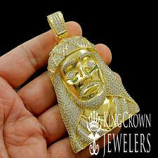 LAB DIAMOND 14K YELLOW GOLD FINISH HOLY JESUS HEAD CROSS CHARM PENDANT 3.5 INCH