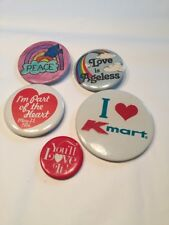 Peace Kmart Heart Lot Of 5 Vtg 80s Pinbacks Pins Buttons Love