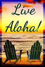 *LIVE ALOHA*  MADE IN USA! METAL SIGN 8X12 BEACH WELCOME TROPICAL LUAU MAUI