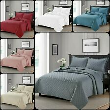 3PCS Embossed Quilted Bedspread Bed Throw Comforter Set Single Double King Sizes
