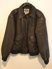 Vintage Bomber Aviator Jacket Coat Global Identity G-Iii Brown Leather Large L