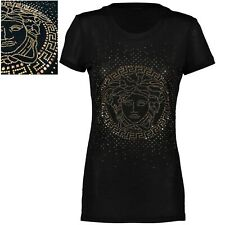 €600 NWT Gianni Versace Womens Girls Stud Medusa Black Silk T Shirt Top 40 S