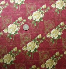 Quilting Patchwork Sewing Fabric PARIS ROSES BURGUNDY FLORAL Material 50x55cm...