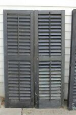 """Antique Wood Shutters 49 3/4"""" // Black // Louvered"""