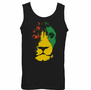 Jamaica Lion Mens Reggae Vest Jamaican Bob Marley Flag Rastafarian Rasta
