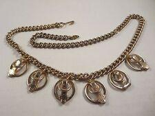 Vintage Kramer Signed Adjustable Chain Necklace 6 Dangle Belt Buckle Charms Gold