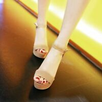 Womens Fashion Ankle Strap Platform High Heel Casual Peep Toe Pumps Shoes Size 8