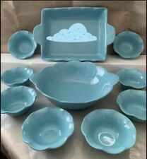 Princess House Marbella Aqua 10pc Set New In Box, Bowl Platter 8 Appetizer Bowls