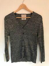 Koret of California Womens Sweater Black Silver Medium Vintage Cardigan Shimmer