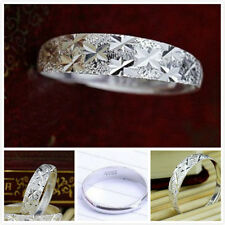 Hallmarked 925 sterling silver frosted irregular band ring with star shape