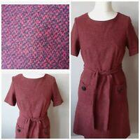 MONSOON Size 12 Belted Wool Blend Dress Pockets Red Black Fleck
