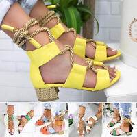 Women Sandals Block Chunky Low Heel Ankle Open Toe Bandage Beach Lace Up Shoes