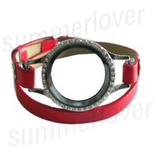 Magnetic Floating Living Watch Locket  + Double Wrap Leather Charm Bracelet Red