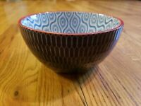 PFALTZGRAFF EVERYDAY Starburst SOUP/CEREAL BOWL Textured Outer Blue White Red