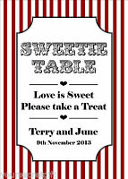 Personalised & colour choice! Sweet Candy Buffet Sweetie Bar photo table sign