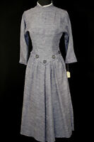 VINTAGE 1950'S DEADSTOCK LONG FITTED WAIST BLUE WOVEN RAYON  DRESS  SIZE 4-6