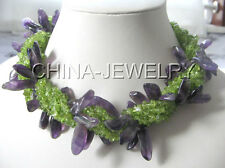 """Beautiful 18"""" 7row natural peridot and amethyst necklace- shell clasp"""