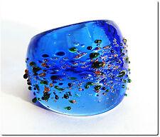 Bague verre murano mouchetée bleue T55 cadeau bijou LAMPWORK mode été ring