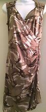 MICHAEL KORS Asymmetric Green Abstract Camo Print Dress Sz 8P