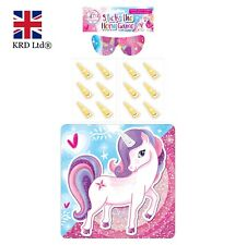 14Pc STICK THE HORN ON THE UNICORN GAME Kids Pony Birthday Party Pin Activity UK
