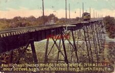 1914 HIGHEST TROLLEY BRIDGE IN THE WORLD, NORTH EAST, PA.