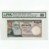 BELGIAN CONGO 100 Francs 1959 P-33b King Leopold II PMG 40 XF Extremely Fine