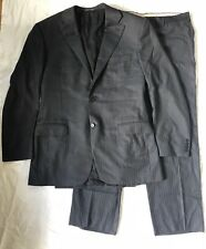 CANALI Italy Navy Blue Wool Chalkstripe 2pc Full Suit Jacket Pants 54 37 L