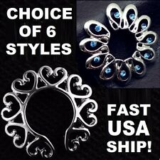 USA~Heart/Flower Non-Piercing Clip On Fake Nipple Rings Body Jewelry Shields Lot