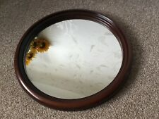 Wooden Framed Round Mirror