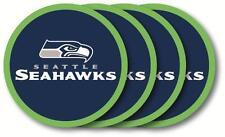 SEATTLE SEAHAWKS ~ Lot of (4) NFL Vinyl Drink Coasters ~ New!