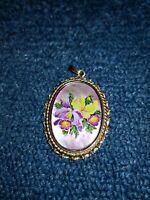 Mother Of Pearl Vintage Painted Flower Gold Tone Pendant Carved back