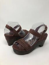 Naughty Monkey Wedges Sandals Shoes SZ 7 Slingbacks Wood Brown EUC Wedges