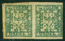 EDW1949SELL : COLUMBIA Bolivar 1863 Scott #1 pair. VF, large part OG. Cat $2400+