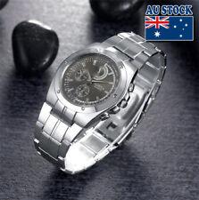 Wholesale Silver Crystal Stainless Steel Black Dial Quartz Watch Men's Watch