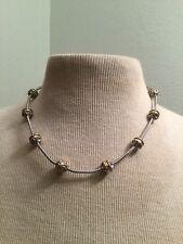 Very RARE BRIGHTON Silver Gold 2 Tone Dot Pebble Graduated Bead Necklace