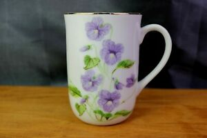 Otagiri White Porcelain Coffee Cup Purple Pansy Floral Mug Japan