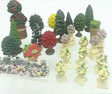 Miniature Dollhouse Fairy Garden Mini Trees Foliage Flower pots Lot 25 Resin
