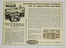 Pubblicità 1957 VOIGTLANDER VITESSA PHOTO FOTO old advertising werbung publicitè