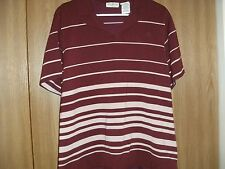 ladies used white stag size22w/24w burgundy stripe short sleeve top